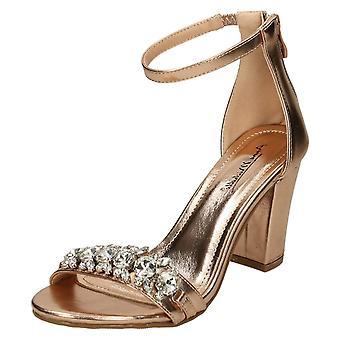Ladies Anne Michelle Jewel Trim Sandals - Gold Metallic - UK Size 4 - EU Size 37 - US Size 6