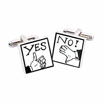 Yes/No Cufflinks by Sonia Spencer, in Presentation Gift Box. Hand painted