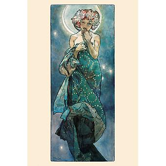 Mucha Moon Poster Print The Moon Poster Poster Print