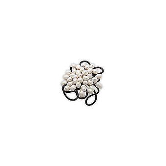 Bracelet Manchette Marron en Perles Blanches 2532