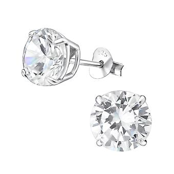 Round - 925 Sterling Silver Classic Ear Studs - W18835X