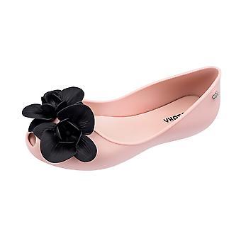 Womens Zaxy Ballet Pumps Stories Flower Peep Toe Flat -  Blush Contrast
