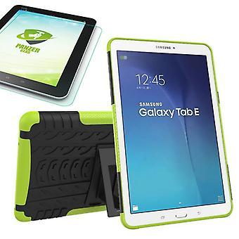 Hybride buiten tas groen voor Samsung Galaxy tab E 9.6 SM T560 + 0.4 gehard glas