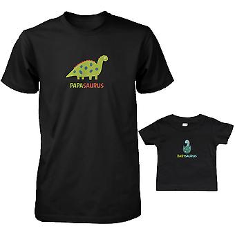 Papasaurus and Babysaurus Dad and Baby Matching T-Shirts