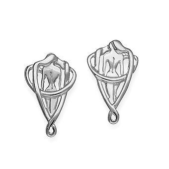 Sterling sølv tradisjonelle moderne moderne bare stilig par øredobber - E1747