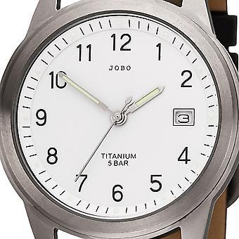 JOBO men's wristwatch quartz analog titanium leather strap black mens watch with date