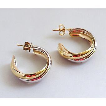 14 k bicolor gold Christian earrings
