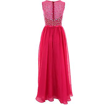 Ladies Sleeveless Beaded Jewel Mesh Chiffon Lined Maxi Prom Bridesmaid Dress