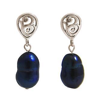GEMSHINE örhängen barock odlade pärlor 925 silver eller förgyllda-Tahiti blå