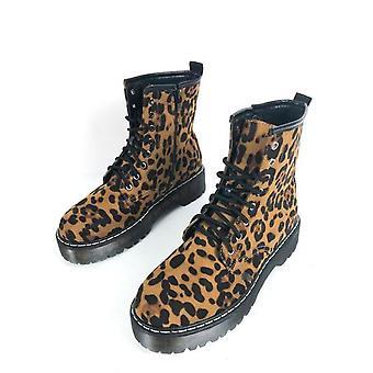 Leopard imprimer plate-forme simili-Suède Combat cheville bottes Multi