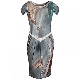 Dimare Frauen gedruckt angeschnittene Ärmel Ärmel Kleid