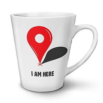 I Am Here NEW White Tea Coffee Ceramic Latte Mug 12 oz | Wellcoda