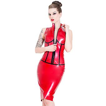 Latex Rubber Subordination Dress Red