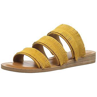 Sandálias de Slide Casual marca sorte das mulheres Hegen couro dedo aberto