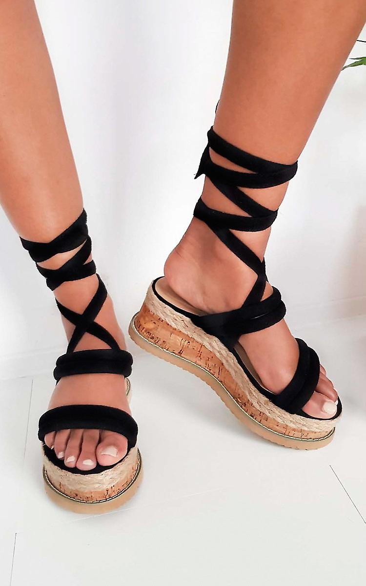 IKRUSH Womens Zara Faux Suede Lace Up Flatform Sandal ZwooW