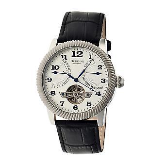 Heritor Piccard automático relógio de couro-banda semi esqueleto - prata