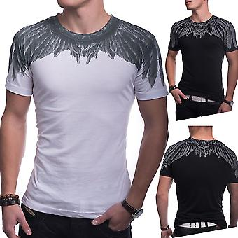 Men's T-Shirt Short Sleeve Printed Feather Feather SlimFit Clubwear White / Black
