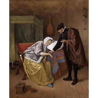 La mujer enferma, Jan Steen, 50x40cm