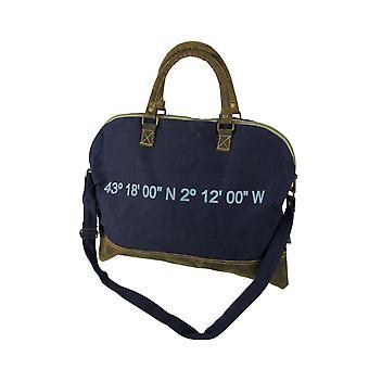 Холст и кожа винтажный стиль деревенский морских печати плечо сумка