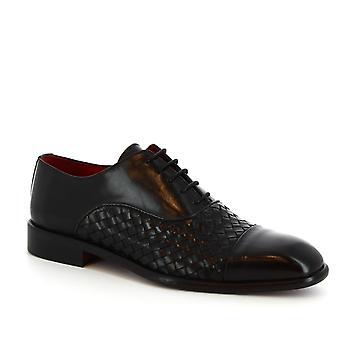 Leonardo chaussures s la main lacé à lacets en cuir de veau tissé noir