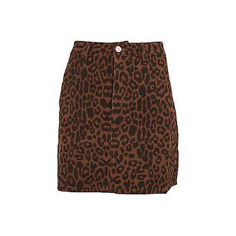 Girls On Film Womens/Ladies Ronnie Leopard Denim Skirt