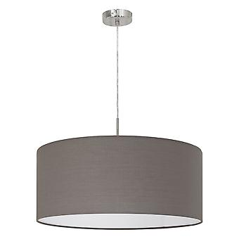 Eglo - Pasteri Single Light Large Ceiling Pendant In Satin Nickel Finish With Anthracite Brown Fabric Shade EG31578