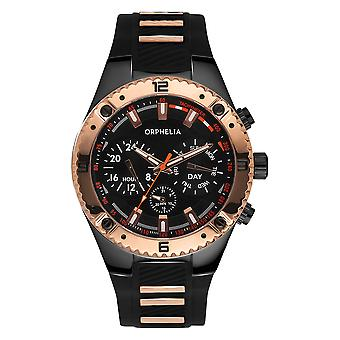 ORPHELIA Mens multicontrole Watch Boulder land zwarte/Rose gouden siliconen 86503