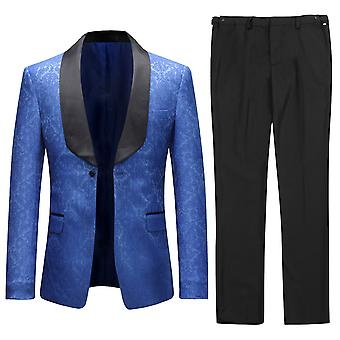 Allthemen Men's Tuxedos 2-Pieces Wedding Banquet Suit Dress Blue Blazer&Pants