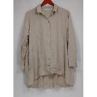 Susan graver vrouwen ' s Petite top geweven knop front groot shirt beige A299875