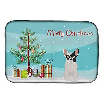 Zwart-wit Franse Bulldog kerstboom schotel drogen mat