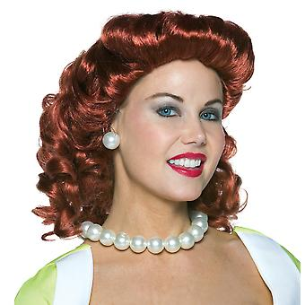 Vintage Housewife 1950s Auburn Red Lucy Retro Women Costume Wig