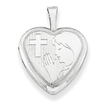 925 sterling zilver gepolijst patroon gift boxed voorjaar ring niet engraveable 16mm Kruis en biddende vrouw hart medaillon
