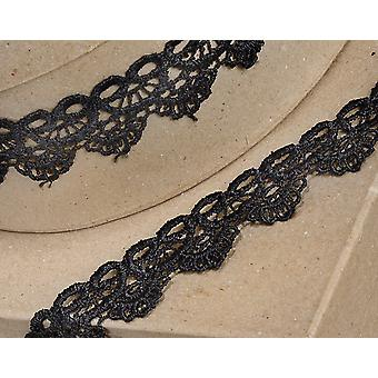 4.5m Black 35mm Wide Scalloped Lace Border Ribbon for Crafts