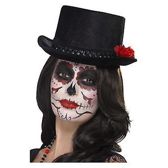 Cappello del Giorno della Parte Morta, Nero, con Roses