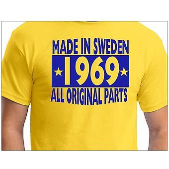 Camiseta amarela feita na Suécia 1969 Todas as peças originais
