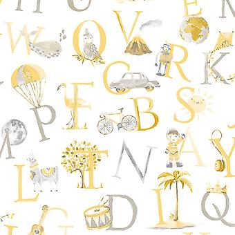 Little Ones Eco Alphabet Wallpaper Yellow GranDeco LO2302