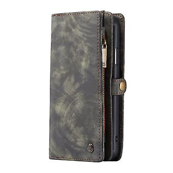 CASEME iPhone 11 Pro retro Split lederen portemonnee Case-grijs