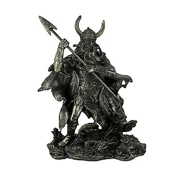 Antique Pewter Finish Viking Warrior Standing Holding Spear