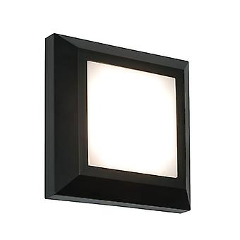 Saxby Lighting Severus Integrated LED 1 Light Outdoor Wall Light Black Abs Plastic, Frosted IP65 61218