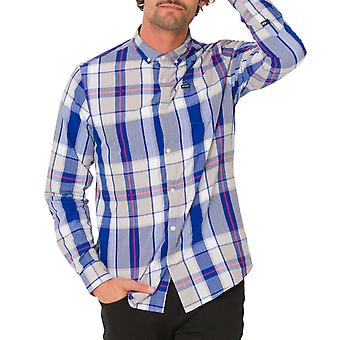 Animal Jones Mens Long Sleeve Single Pocket Casual Check Shirt - Cobalt Blue
