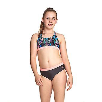 Zoggs Schimmer Muskel Girl's zwei Stücke Bikini in schwarz / Multi Eco Stoff