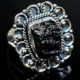 Tektite 925 sterling sølv ring størrelse 6,5-håndlavede Boho vintage smykker RING980414