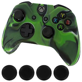 Zedlabz silicone rubber skin grip cover & thumb grip pack for xbox one controller - camo green