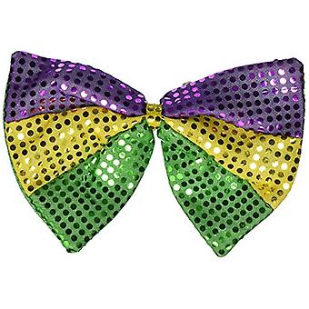 Beistle 60733 Jumbo Mardi Gras Glitz & N Gleam Bow, Gold/Green/Purple, Size 8.0