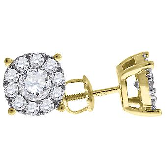 925 Sterling Silver Mens Yellow tone CZ Cubic Zirconia Simulated Diamond Round Stud Earrings Measures 8.8x8.8mm Wide Jew
