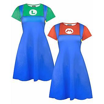 Super Mario and Luigi Women's Costume Dresses Ladies Cosplay