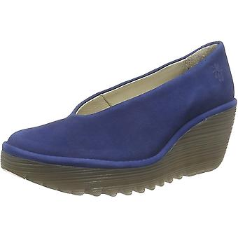 Fly London Yaz Wedge Round Toe Court Shoe - Low Heel Cupido - Oil Suede