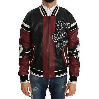 Dolce & Gabbana Leather Club Lounge Black Red Jacket