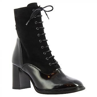 Leonardo Shoes Women's handmade heels mid calf boots black suede patent leather