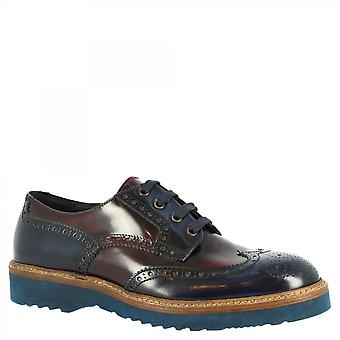 Men's handmade lace-ups derby shoes in blue burgundy patent calf leather